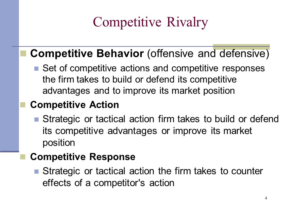 Competitive Rivalry Competitive Behavior (offensive and defensive)