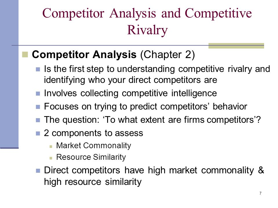 Competitor Analysis and Competitive Rivalry