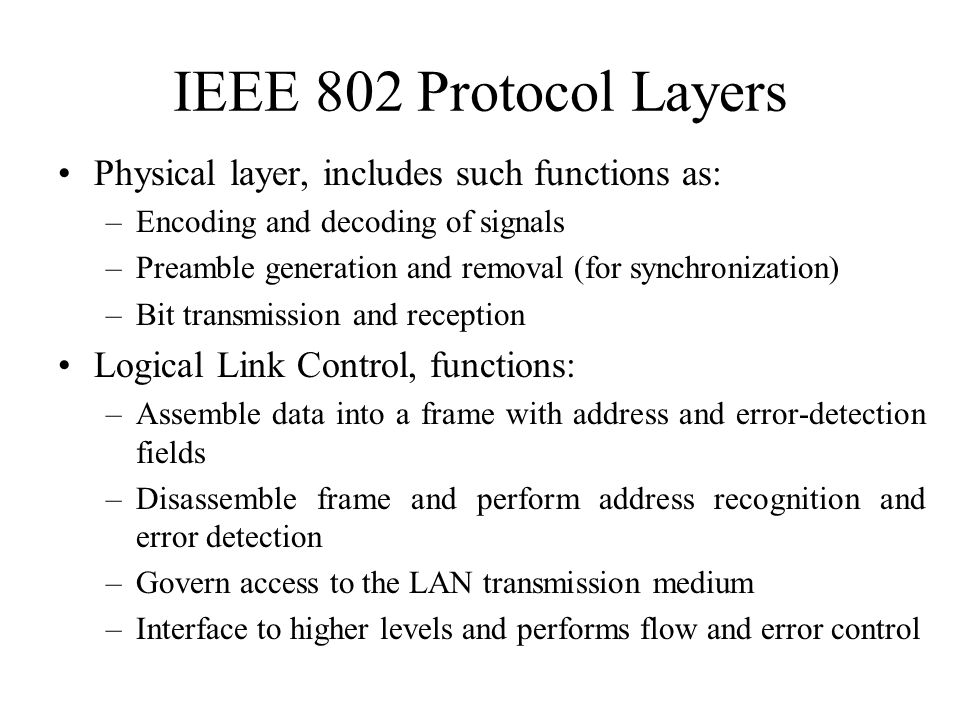 IEEE 802 Protocol Layers Physical layer, includes such functions as: