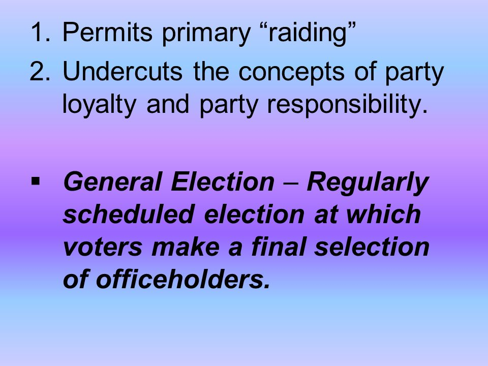 Permits primary raiding