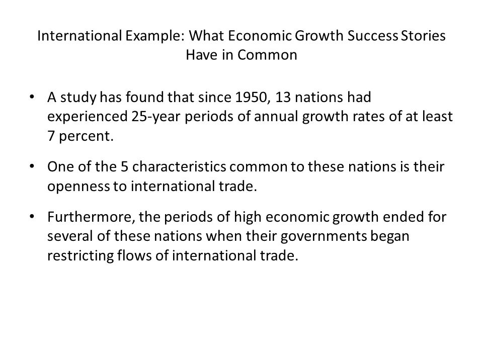 International Example: What Economic Growth Success Stories Have in Common