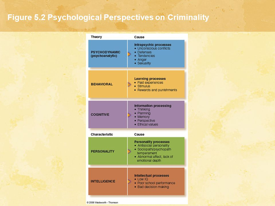 Figure 5.2 Psychological Perspectives on Criminality
