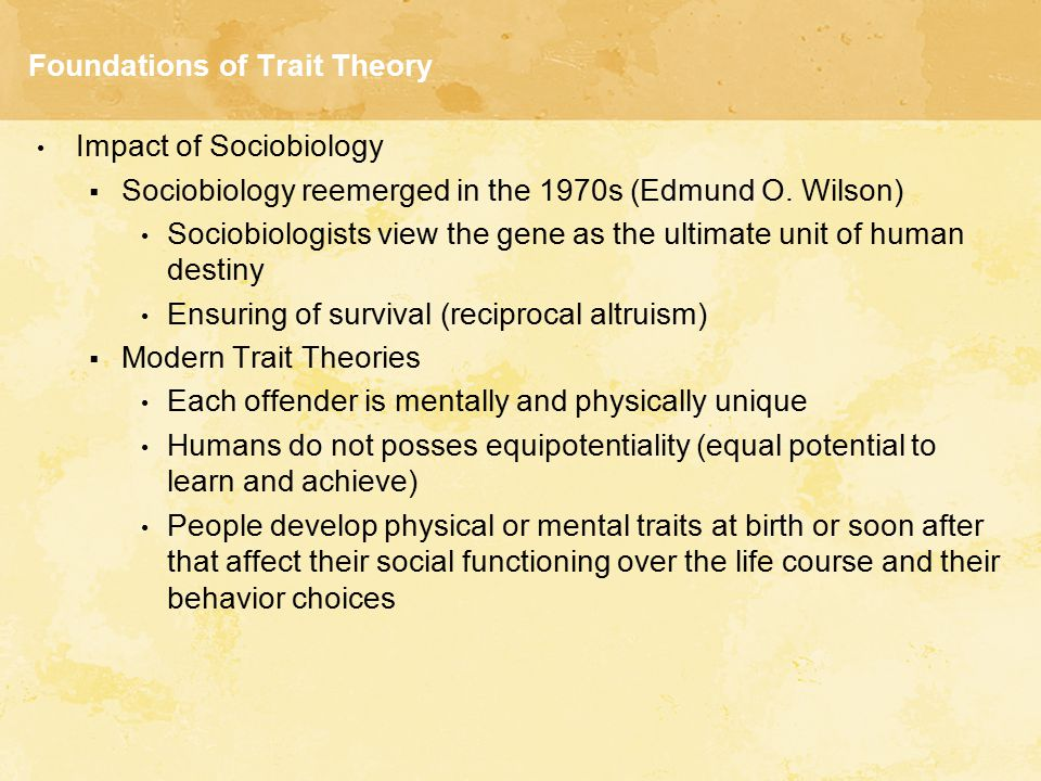Foundations of Trait Theory