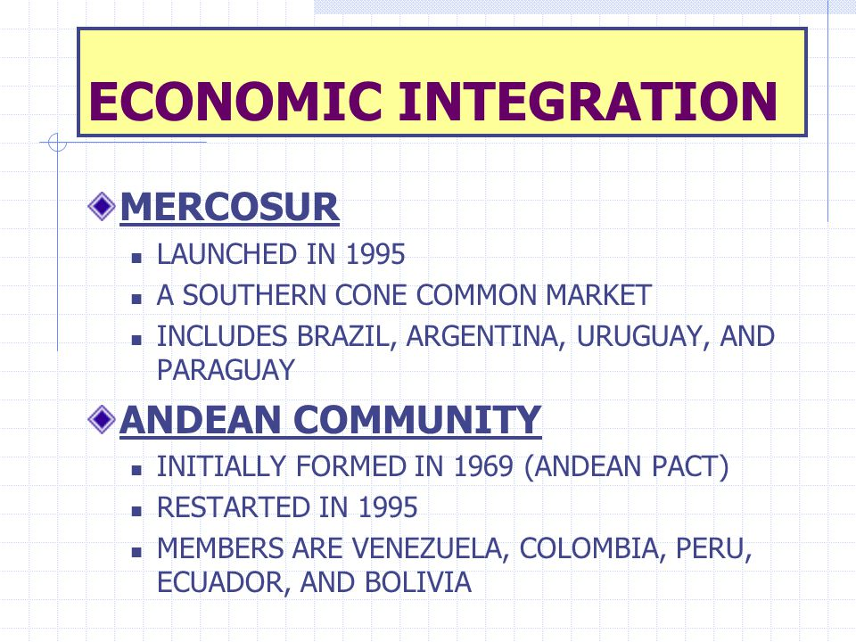 ECONOMIC INTEGRATION MERCOSUR ANDEAN COMMUNITY LAUNCHED IN 1995