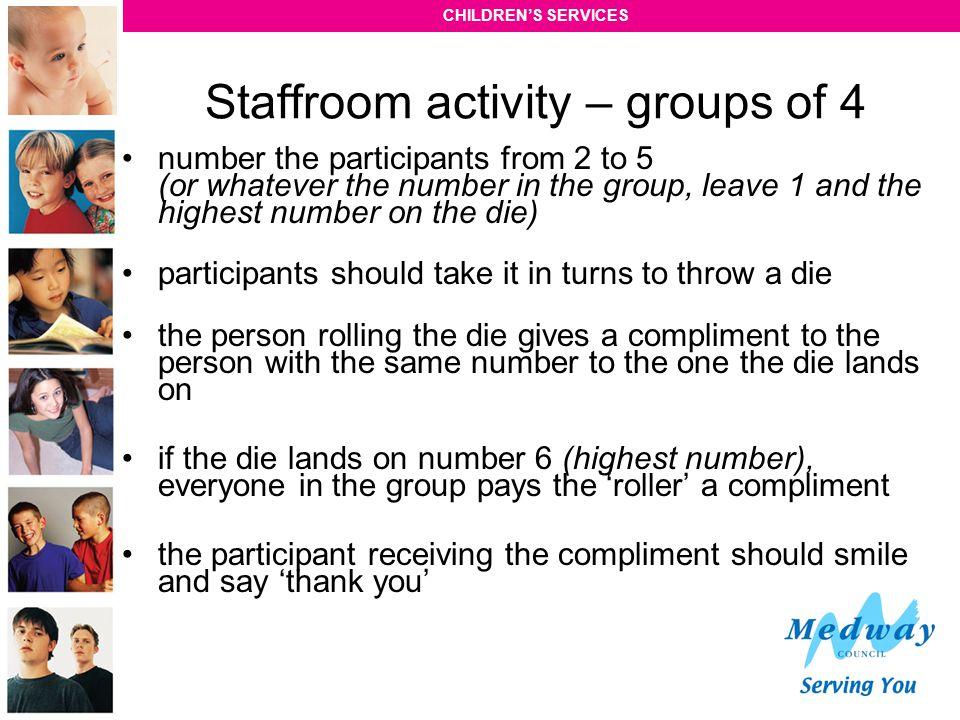 Staffroom activity – groups of 4