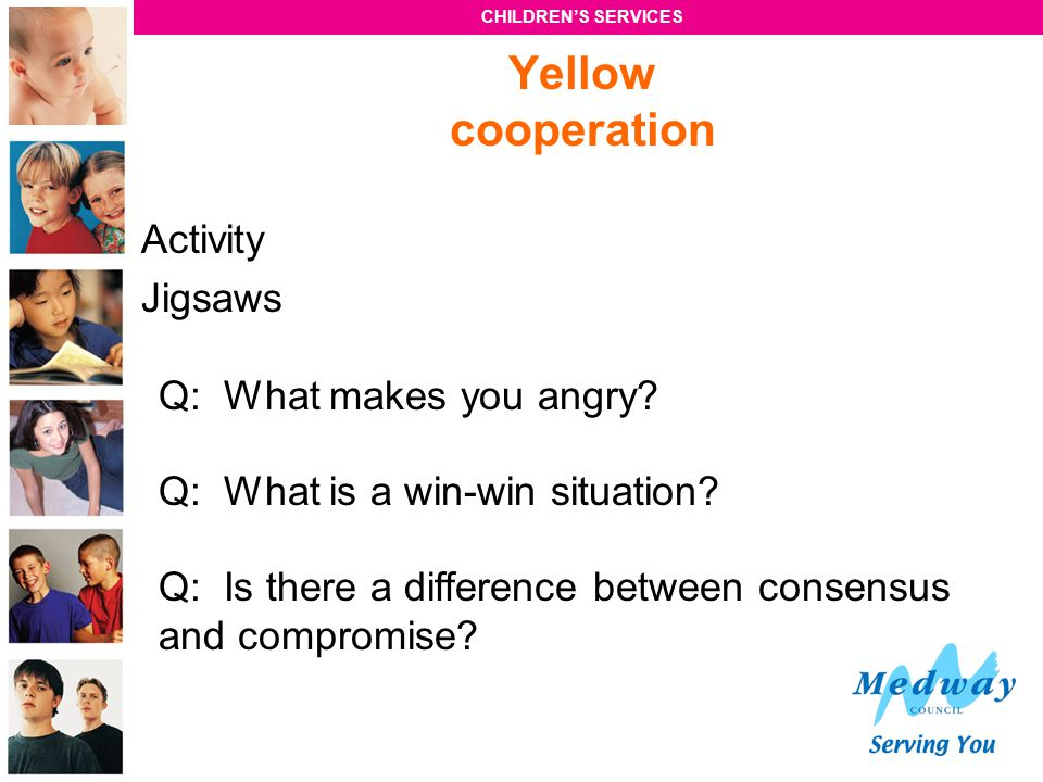 Yellow cooperation Activity Jigsaws Q: What makes you angry