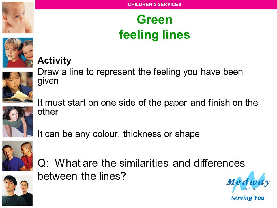 Green feeling lines Activity. Draw a line to represent the feeling you have been given.