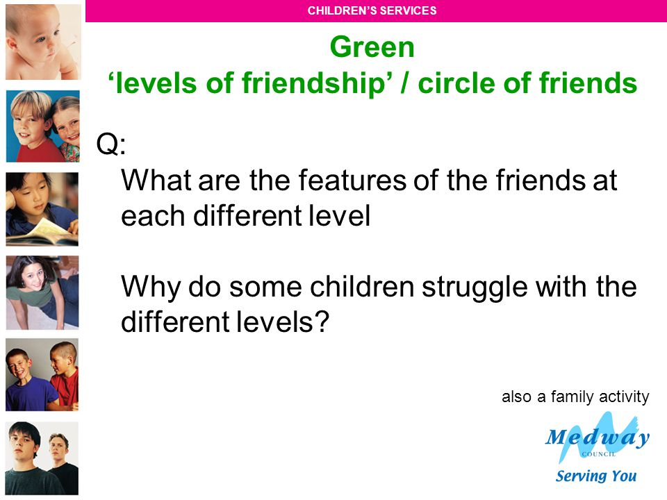 Green 'levels of friendship' / circle of friends