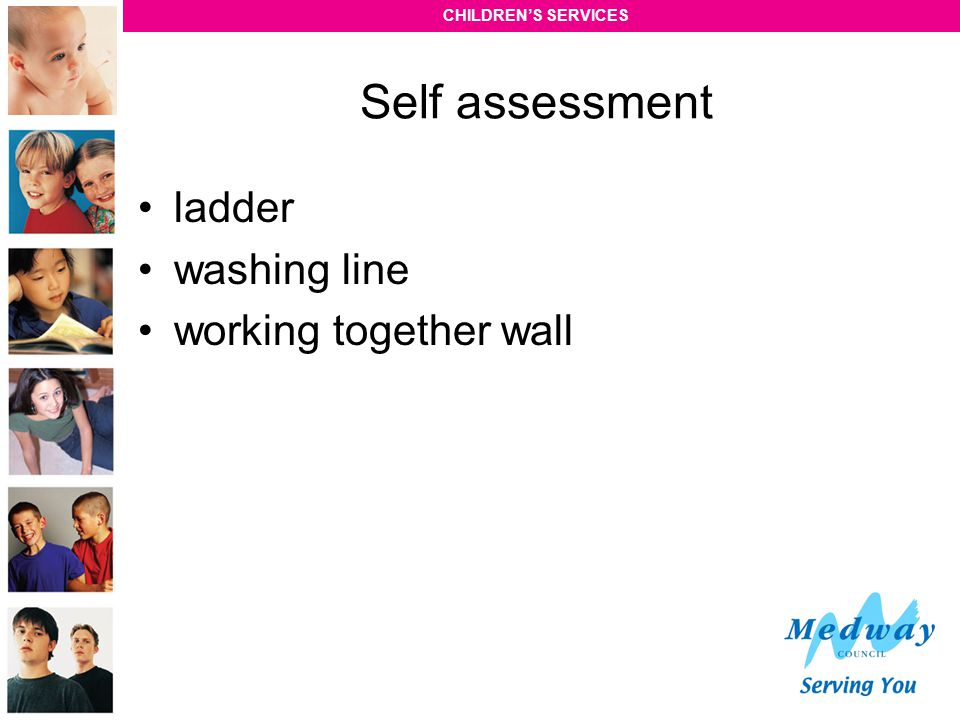 Self assessment ladder washing line working together wall