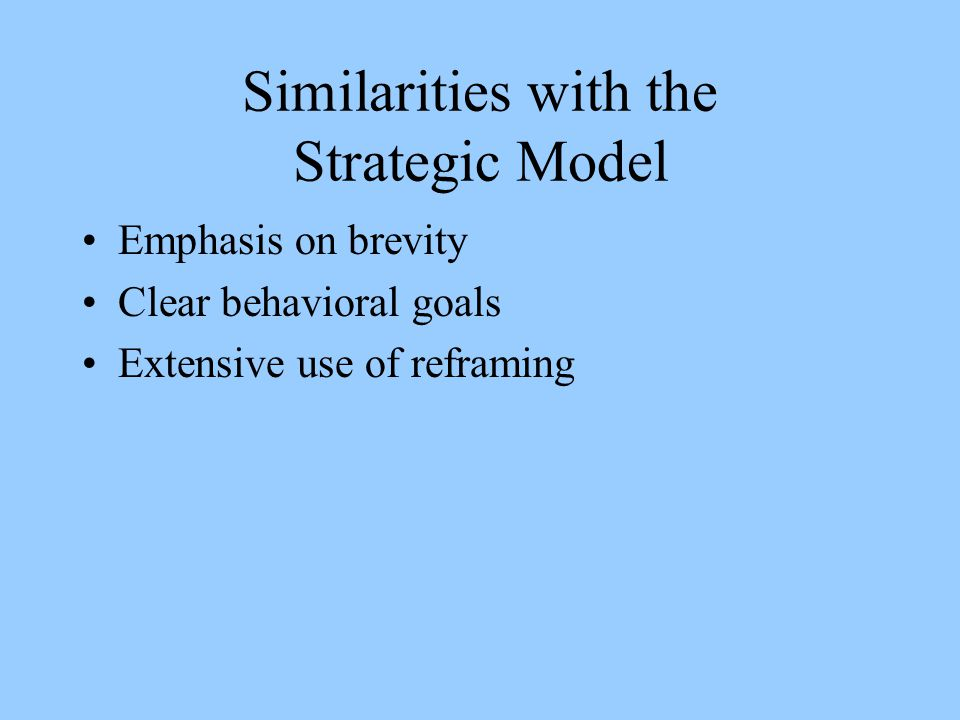 Similarities with the Strategic Model