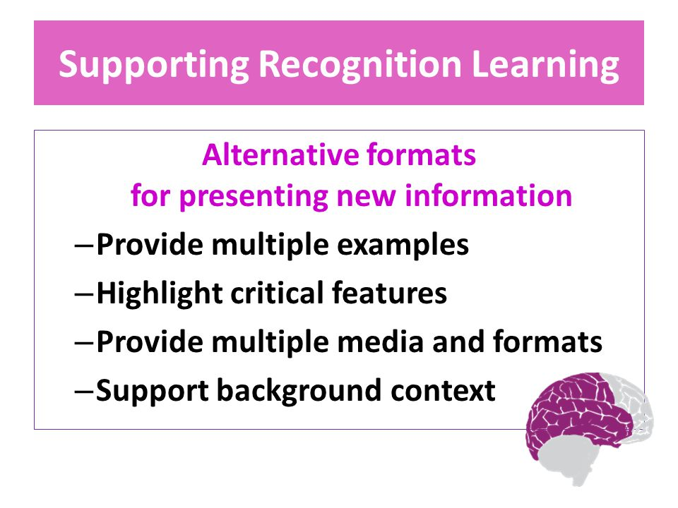 Supporting Recognition Learning