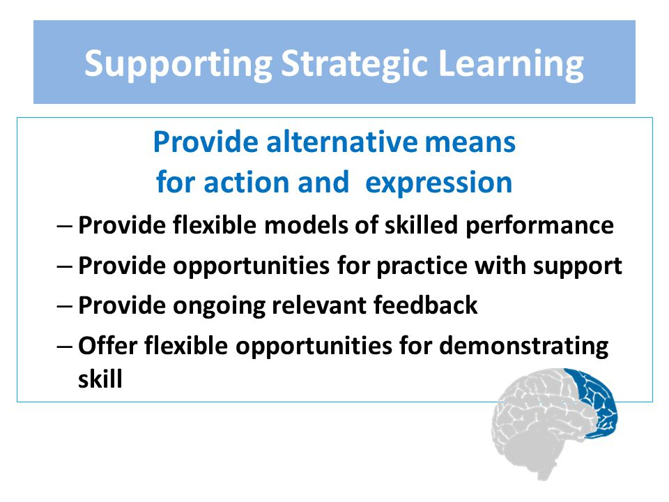 Supporting Strategic Learning