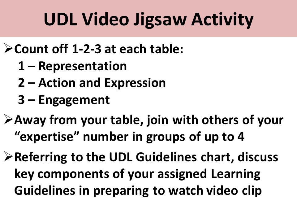 UDL Video Jigsaw Activity