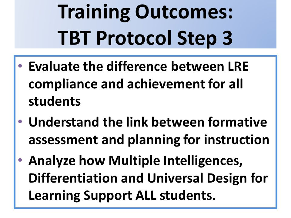 Training Outcomes: TBT Protocol Step 3