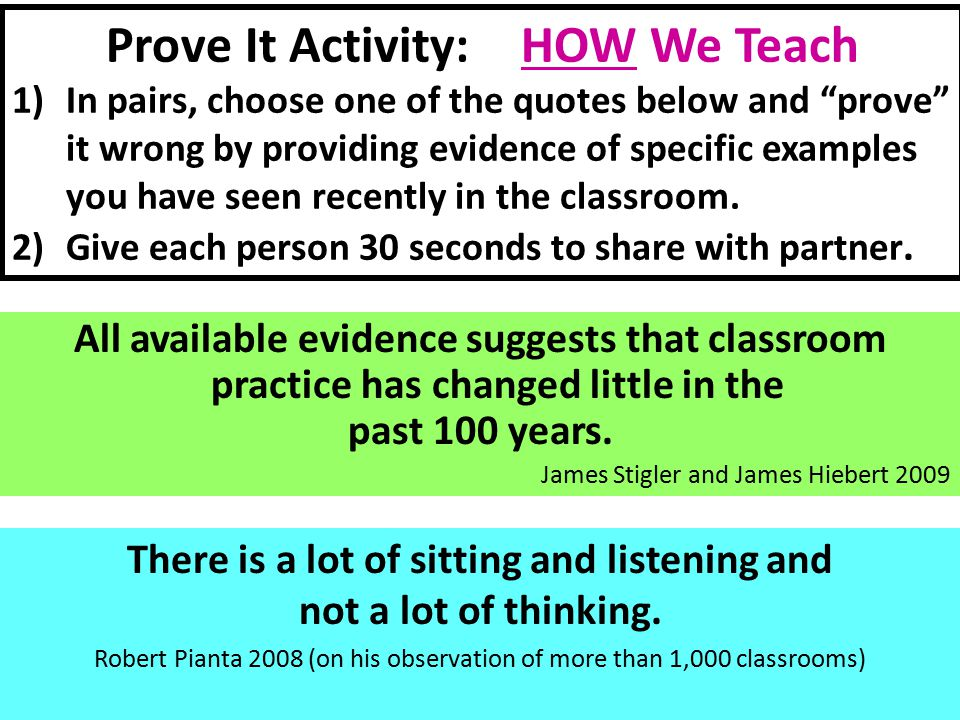 Prove It Activity: HOW We Teach