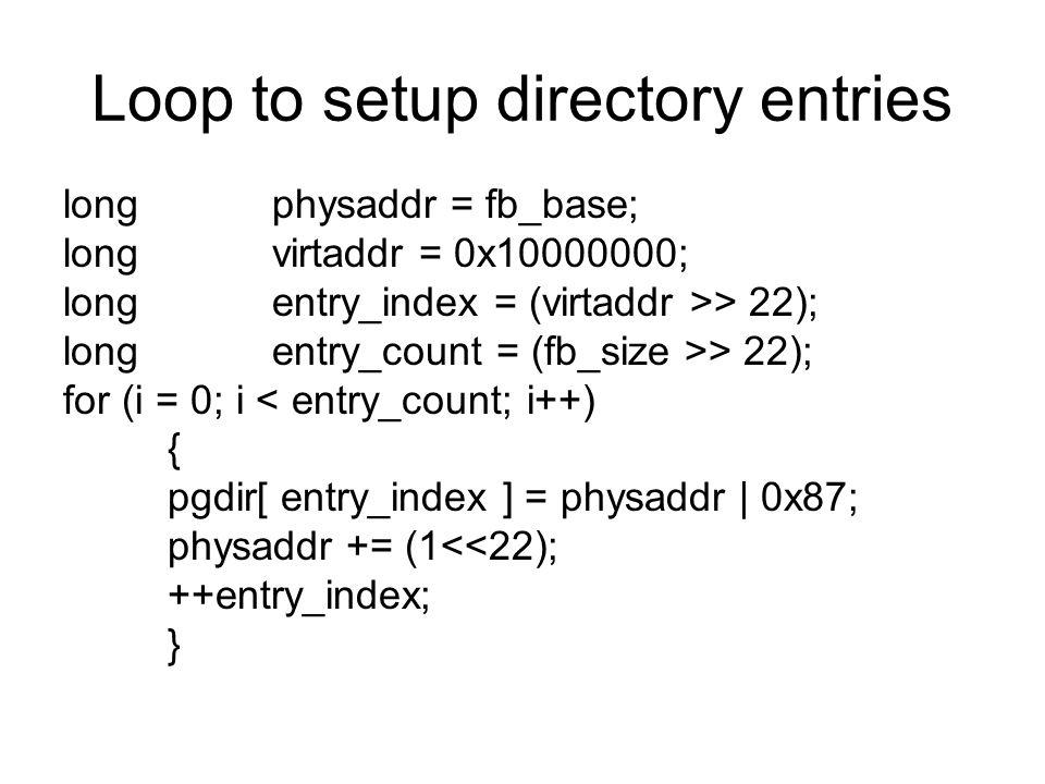 Loop to setup directory entries
