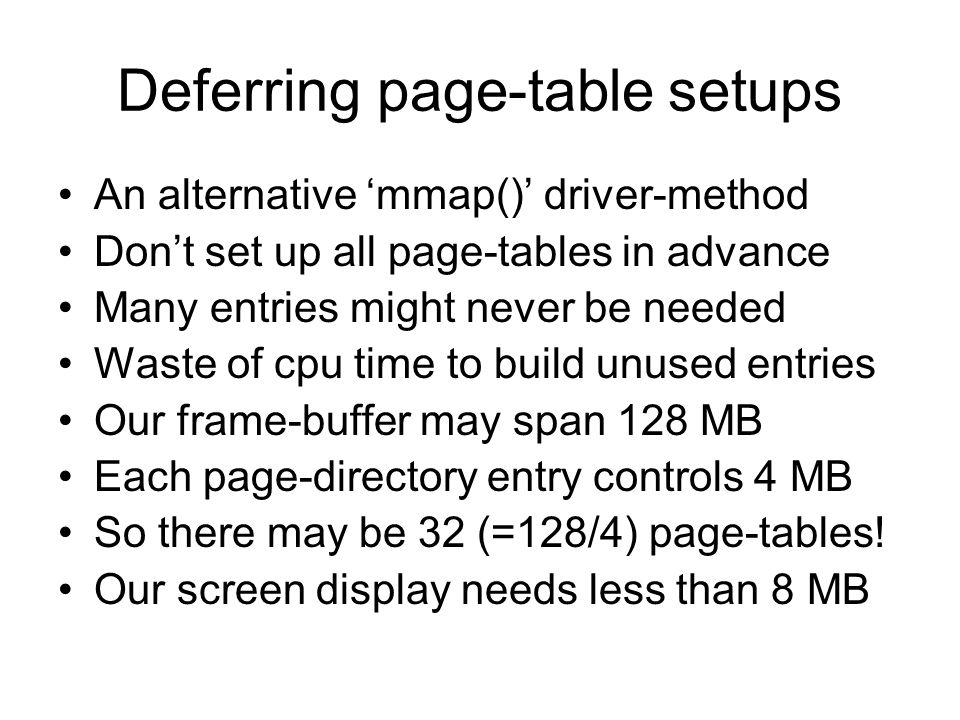 Deferring page-table setups