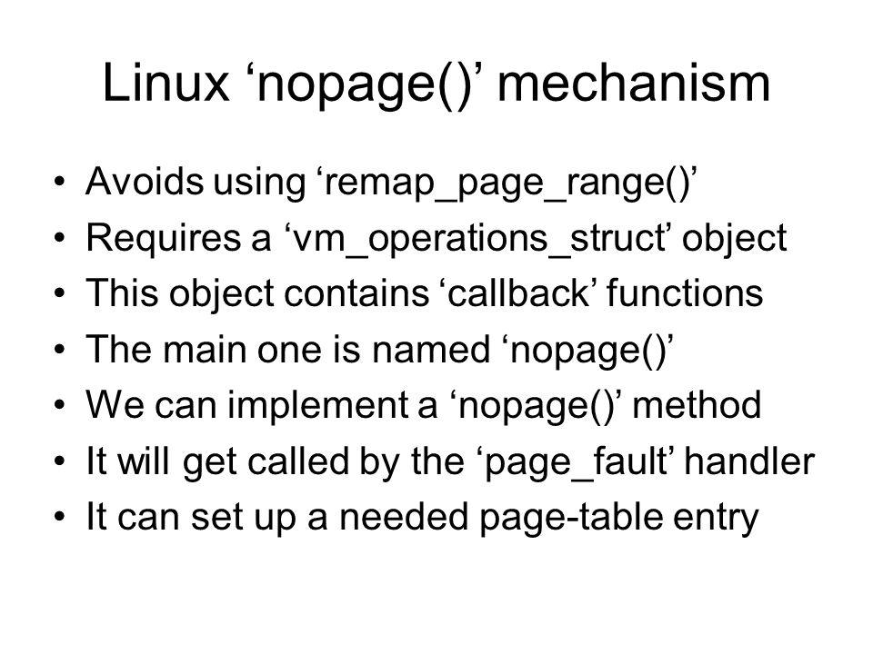 Linux 'nopage()' mechanism