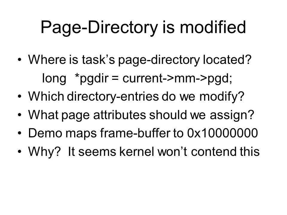 Page-Directory is modified