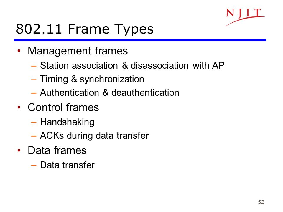 802.11 Frame Types Management frames Control frames Data frames