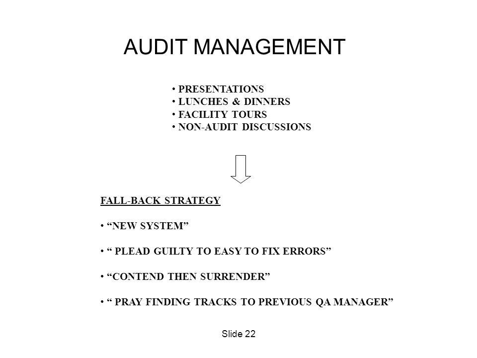 AUDIT MANAGEMENT PRESENTATIONS LUNCHES & DINNERS FACILITY TOURS