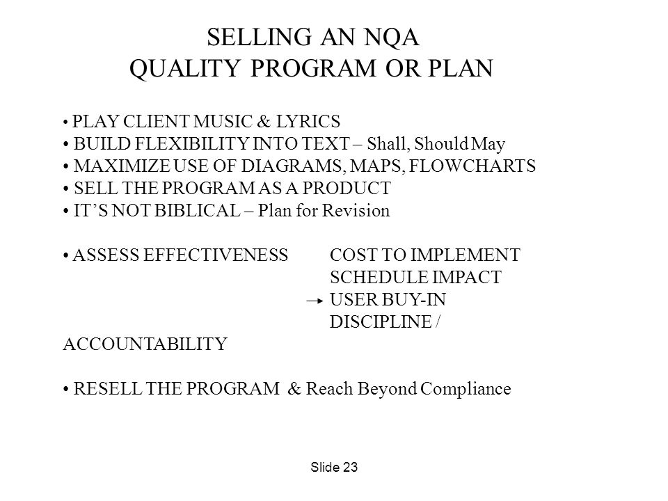 QUALITY PROGRAM OR PLAN