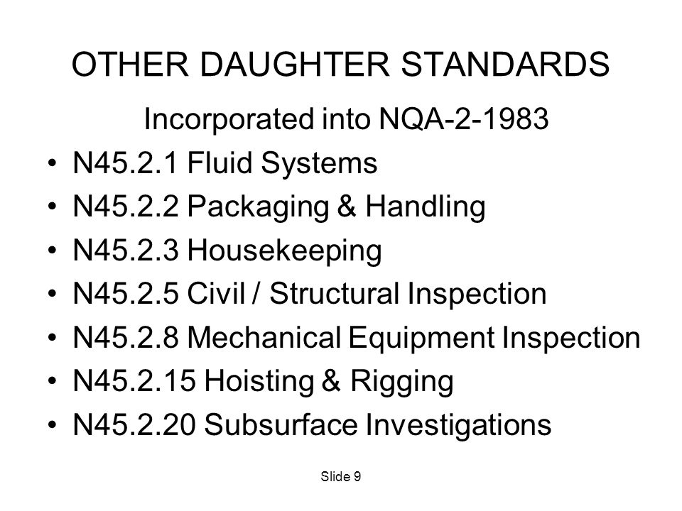 OTHER DAUGHTER STANDARDS