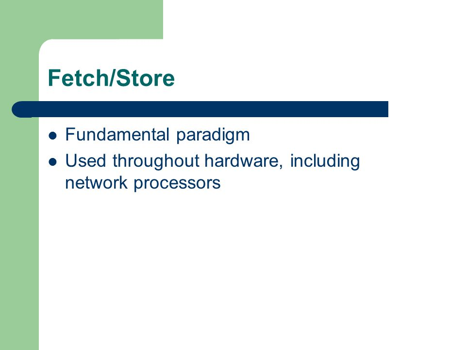 Fetch/Store Fundamental paradigm