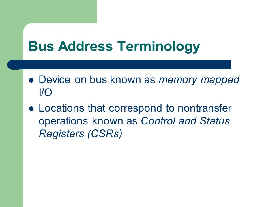 Bus Address Terminology