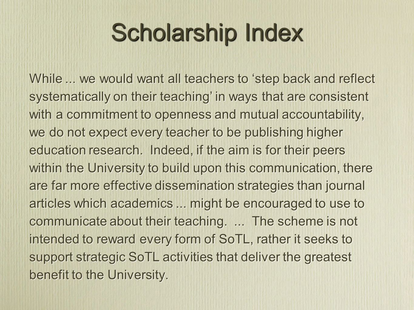 Scholarship Index