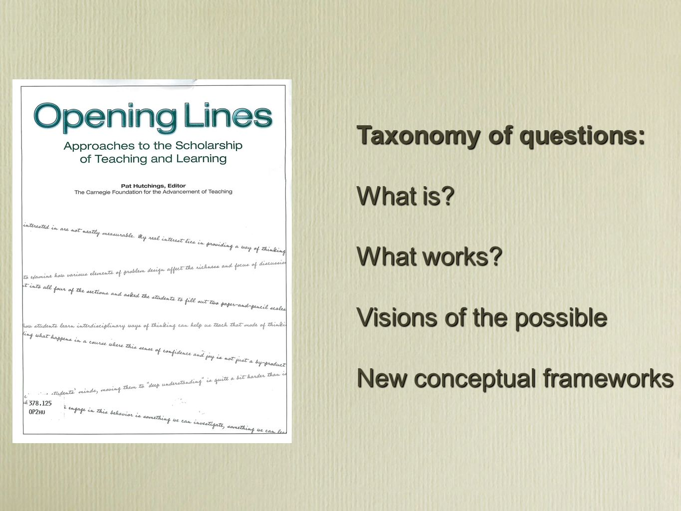 Taxonomy of questions: