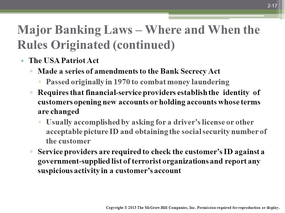Major Banking Laws – Where and When the Rules Originated (continued)