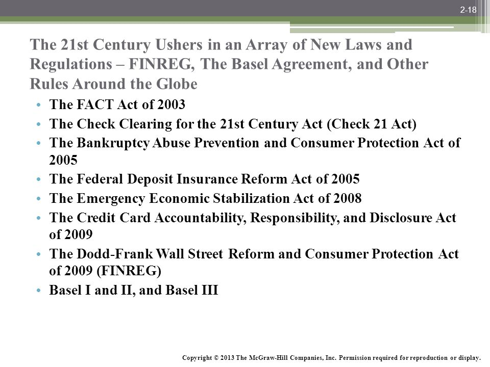 2-18 The 21st Century Ushers in an Array of New Laws and Regulations – FINREG, The Basel Agreement, and Other Rules Around the Globe.