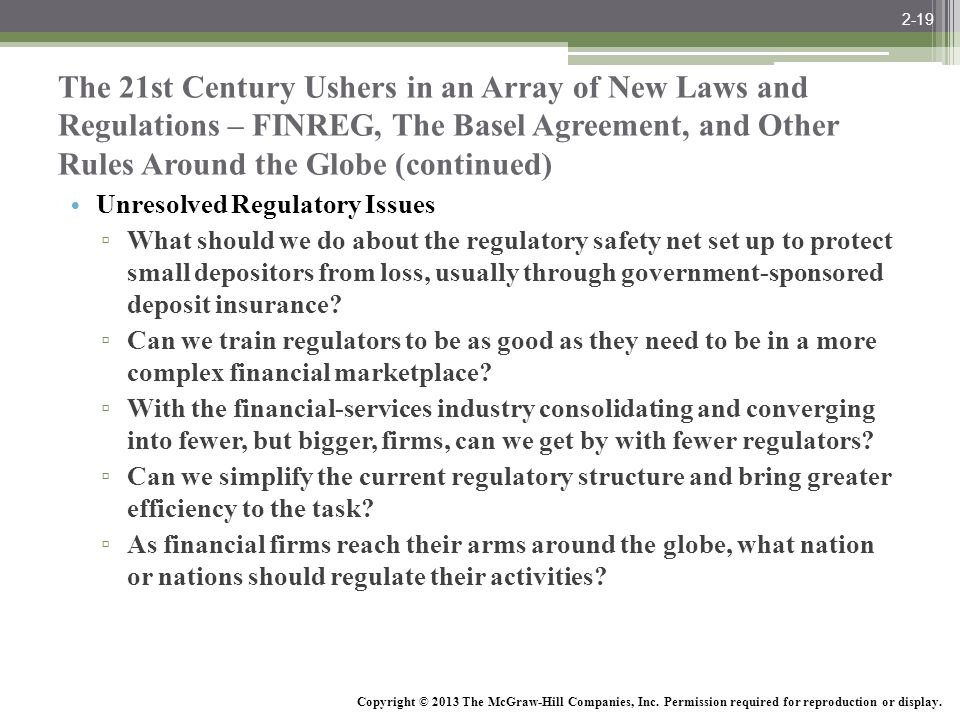 2-19 The 21st Century Ushers in an Array of New Laws and Regulations – FINREG, The Basel Agreement, and Other Rules Around the Globe (continued)
