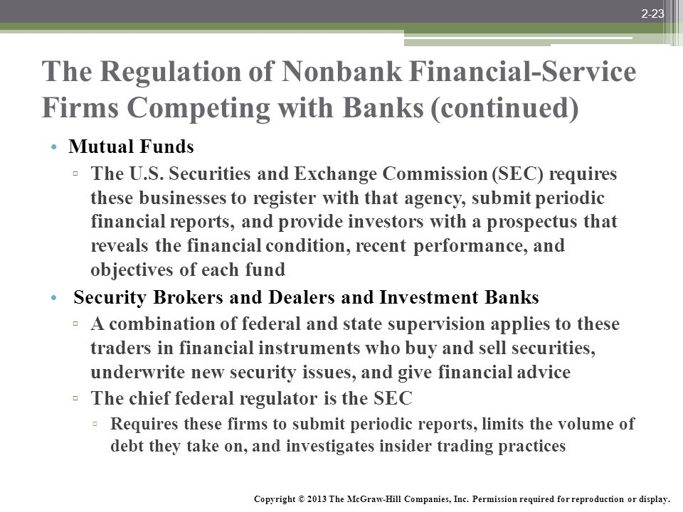 2-23 The Regulation of Nonbank Financial-Service Firms Competing with Banks (continued) Mutual Funds.