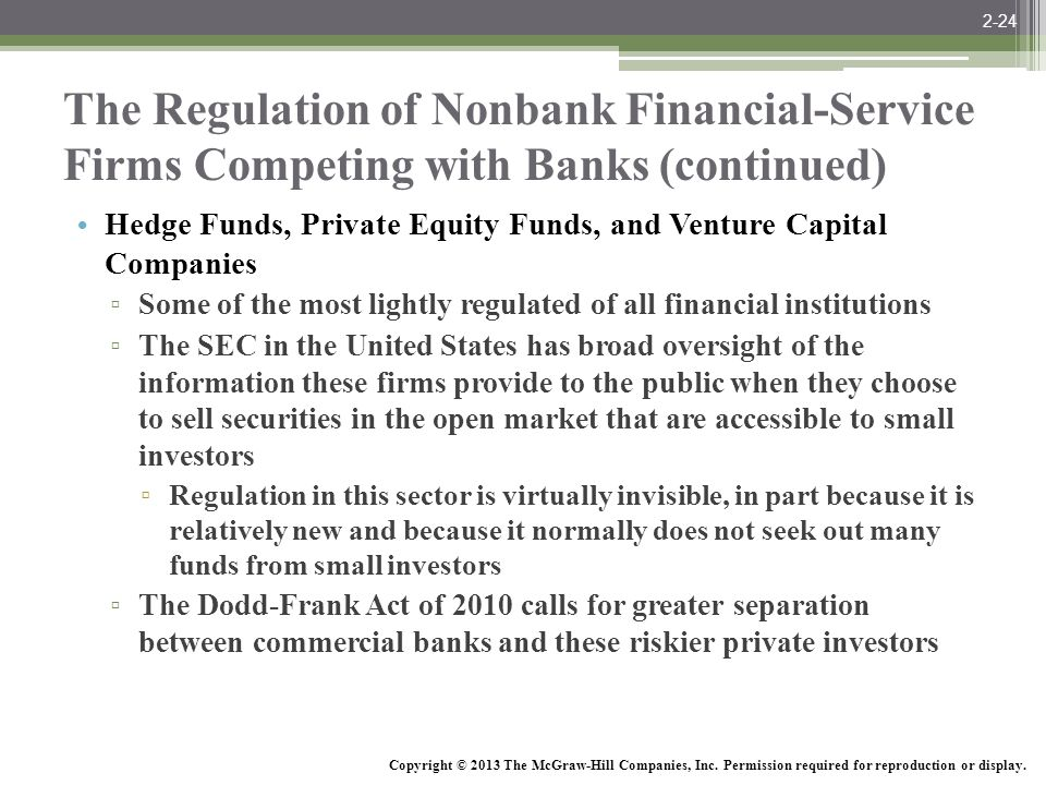 2-24 The Regulation of Nonbank Financial-Service Firms Competing with Banks (continued)