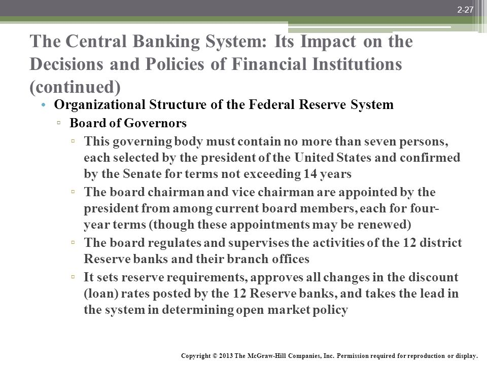 2-27 The Central Banking System: Its Impact on the Decisions and Policies of Financial Institutions (continued)