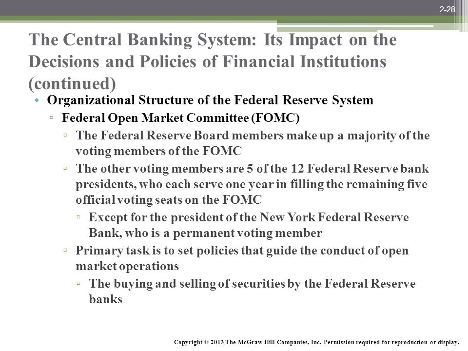 2-28 The Central Banking System: Its Impact on the Decisions and Policies of Financial Institutions (continued)