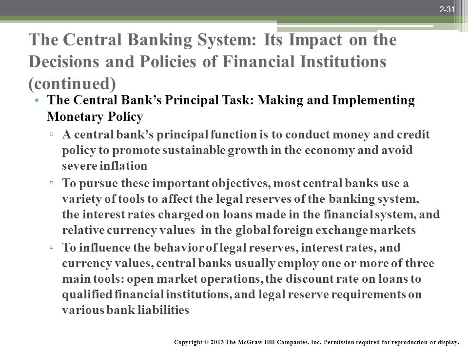 2-31 The Central Banking System: Its Impact on the Decisions and Policies of Financial Institutions (continued)