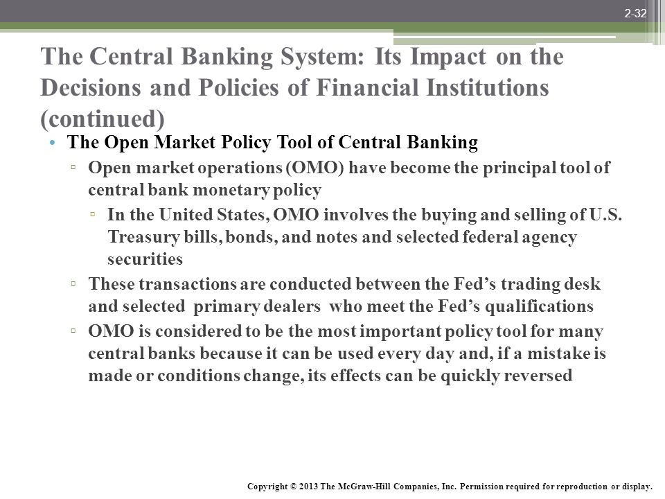 2-32 The Central Banking System: Its Impact on the Decisions and Policies of Financial Institutions (continued)