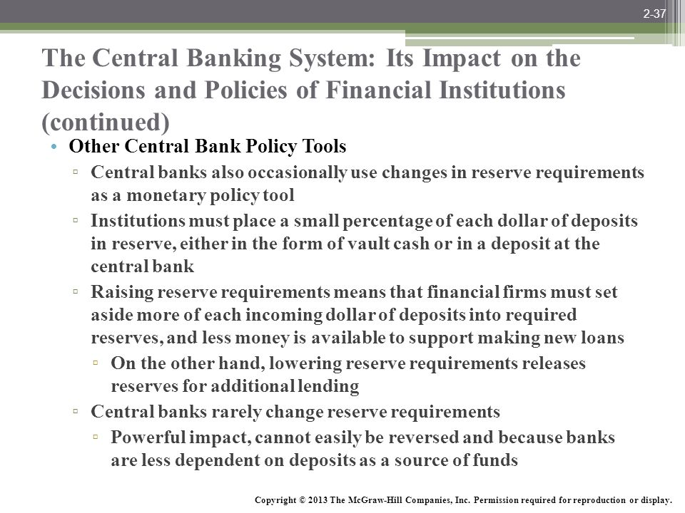 2-37 The Central Banking System: Its Impact on the Decisions and Policies of Financial Institutions (continued)