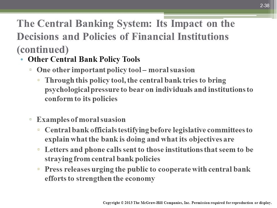 2-38 The Central Banking System: Its Impact on the Decisions and Policies of Financial Institutions (continued)