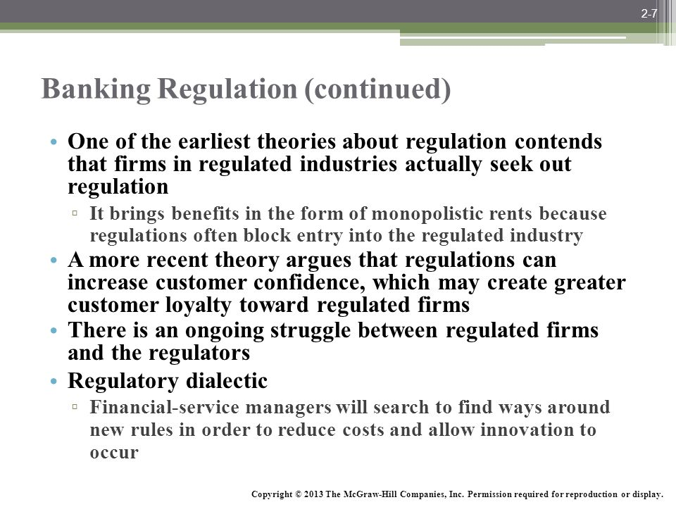 Banking Regulation (continued)