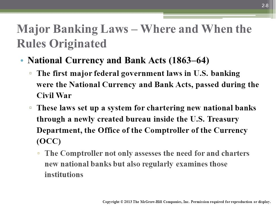 Major Banking Laws – Where and When the Rules Originated
