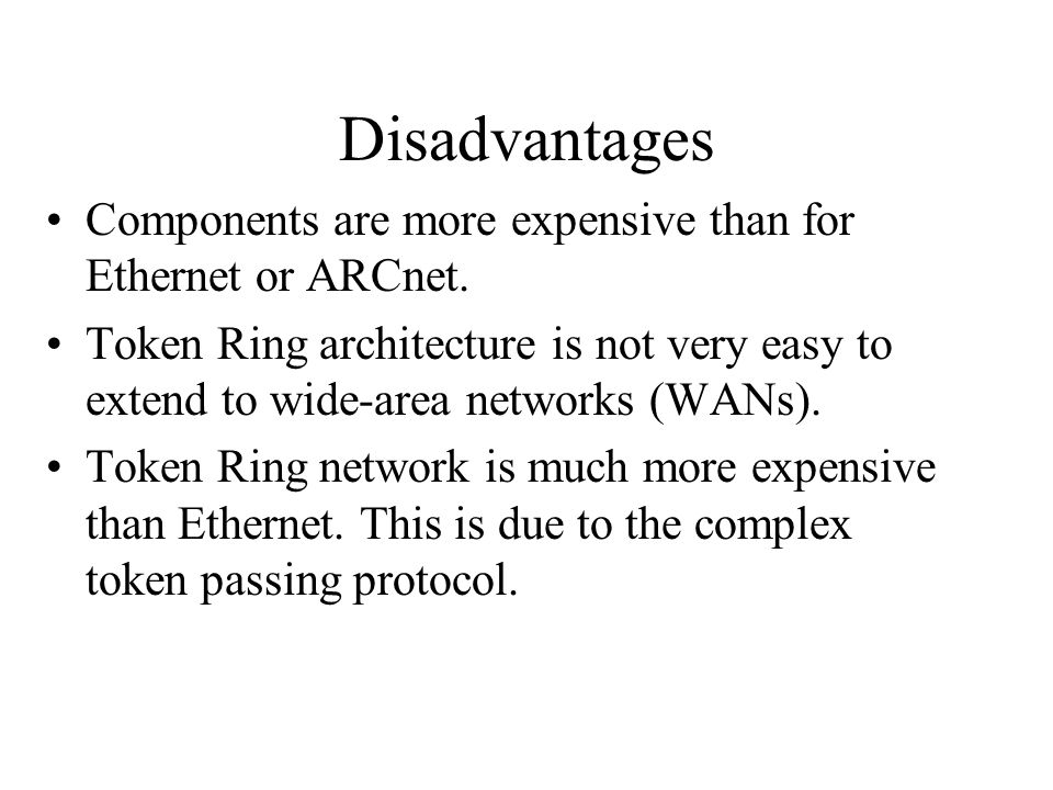 Disadvantages Components are more expensive than for Ethernet or ARCnet.