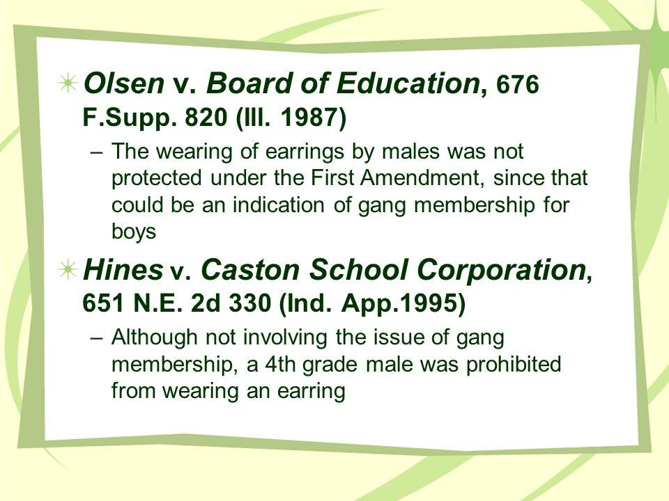Olsen v. Board of Education, 676 F.Supp. 820 (Ill. 1987)