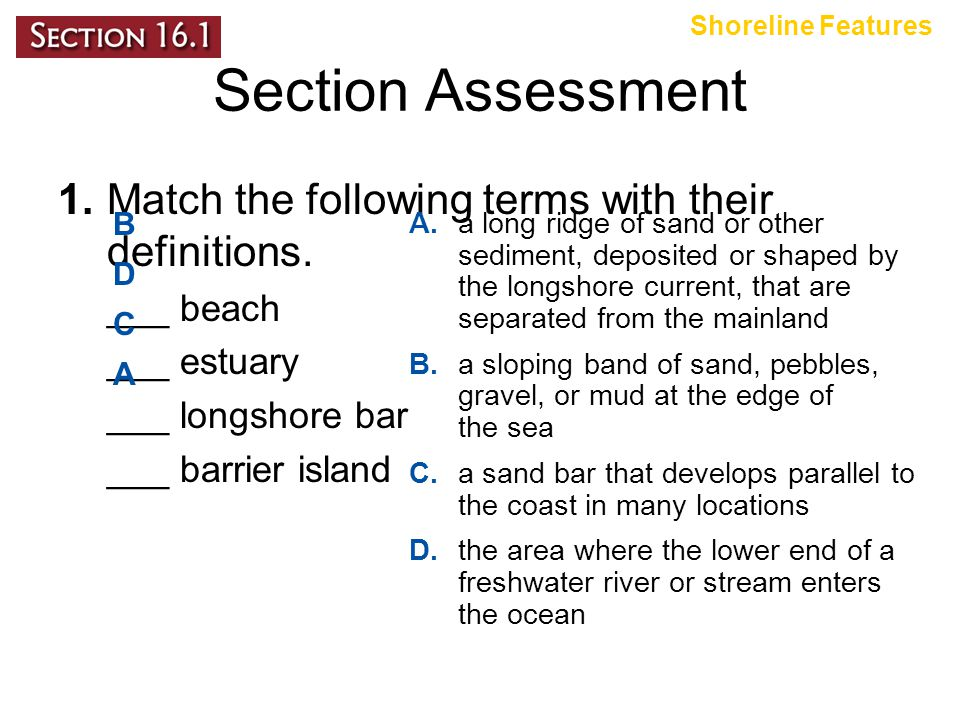 Shoreline Features Section Assessment. 1. Match the following terms with their definitions. ___ beach.