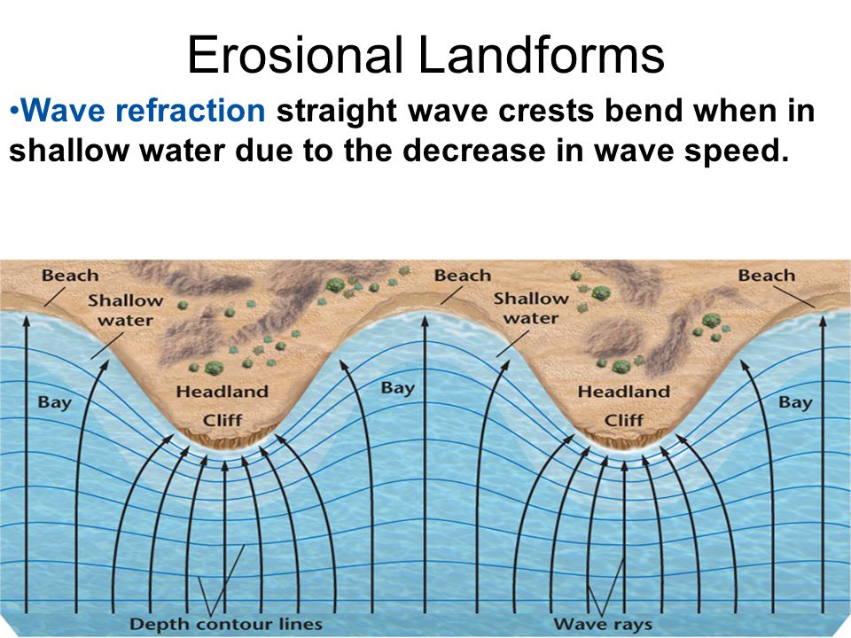 Erosional Landforms Wave refraction straight wave crests bend when in shallow water due to the decrease in wave speed.
