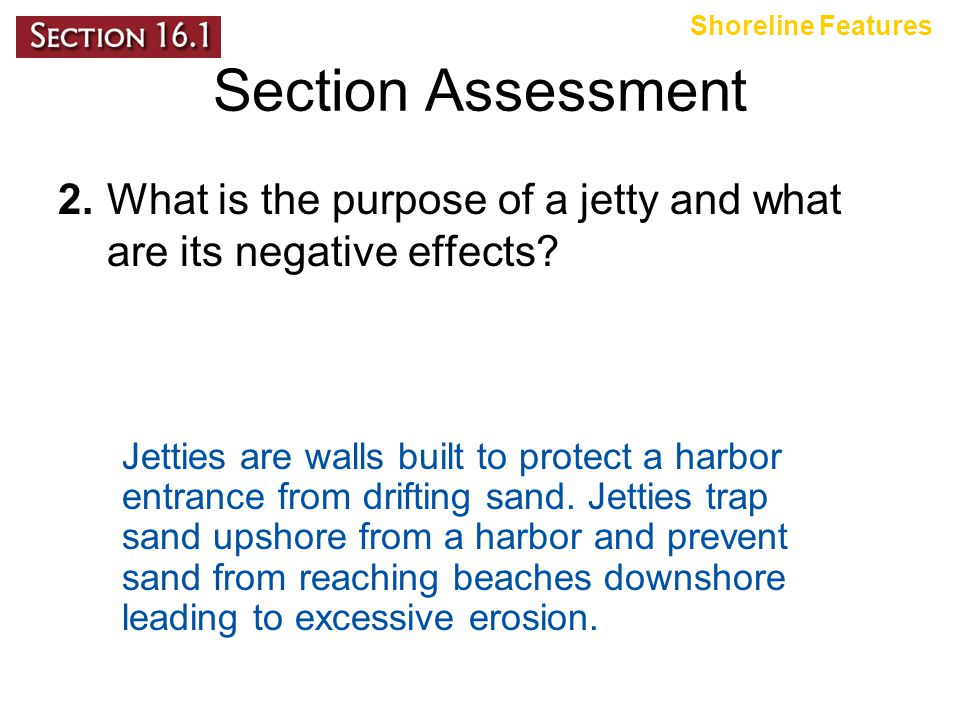 Shoreline Features Section Assessment. 2. What is the purpose of a jetty and what are its negative effects