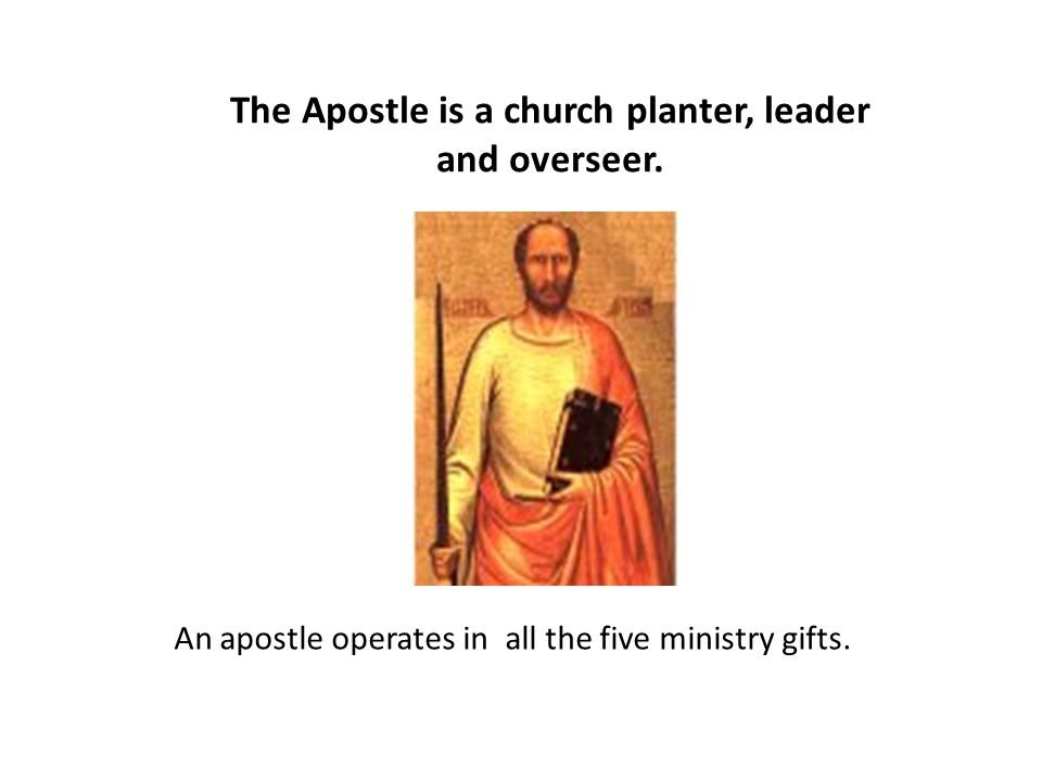 The Apostle is a church planter, leader and overseer.